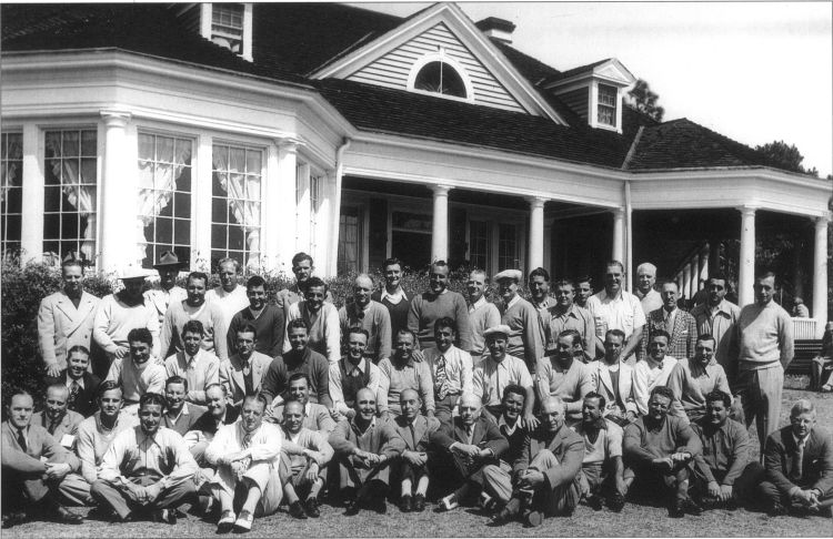 In this rare photo taken at the Palmetto Golf Club in Aiken, South Carolina just prior to the 1946 Masters, are many of the leading players Jack Grout competed against in the 1930's and early 1940's.