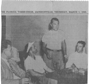 Around the locker room at Brentwood Country Club during the 1945 Jacksonville Open. Seated, in the white visor is Texan Henry Ransom, standing is tempestuous Ky Laffoon, seated at right is Jack Grout, new pro at Butterfield CC in Chicago IL. Incidentally, the tournament was won by Sam Snead. Grout shot 216-71-287 and finished tied for sixteenth place.