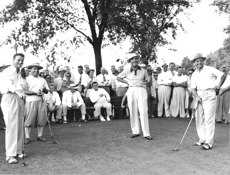 In August 1949, sportswriter Tom Shriver wrote in the Harrisburg (PA) Patriot News: Those brave golf enthusiasts who defied the direct rays of a hot sun yesterday to tramp around the well-kept fairways of the Harrisburg Country Club were treated to some fine golf as four outstanding professionals made Old Man Par look ridiculous.Sam Snead, the current holder of the PGA Championship and Rod Munday teamed up against veteran Gene Sarazen and host professional Jack Grout to win a four-ball match 4-up with three to play. In the match, Snead alone had a 65, seven under regulation figures, and Munday posted a 66 with a couple of conceded putts. The duo posted a best-ball score for the 18 holes of 11-under par. Even against this brand of golf, the team of Grout and Sarazen were far from disgraced. Grout had a 67, with a 32 on the front nine and a 35 on the back layout, while Sarazen was listed for a 69. After it was all over the Squire announced that he would play one more exhibition and then quit golf until the weather was a trifle cooler.