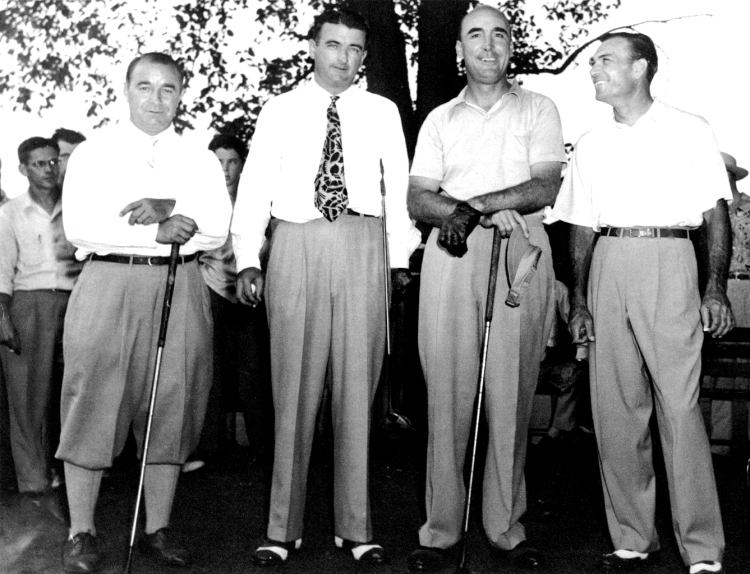August 1948 Exhibition Match at Harrisburg Country Club with Gene Sarazen, Jack Grout, Rod Munday and Ben Hogan. Rod Munday the pro at York (PA) Country Club was a close friend of Jack Grout. He was a fun-loving character and a joy to be around. Munday intrigued the galleries wherever and whenever he played  by putting right-handed at long range, cross-handed for those putts in the 10 – 15 foot middle distance and left-handed on the short ones. When his system worked he'd turn in some good, low scores. Munday was a very good player but well known for his putting problems. He might putt right-handed, left-handed, cross-handed right handed, and cross-handed left handed all in one 18-hole round.