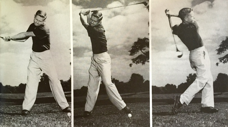 "Photos showing 13-year-old Jack Nicklaus swinging-for-the-fences.  Dad said, ""he was a little kid who just wanted to fire that sucker.  He had the instinct."""